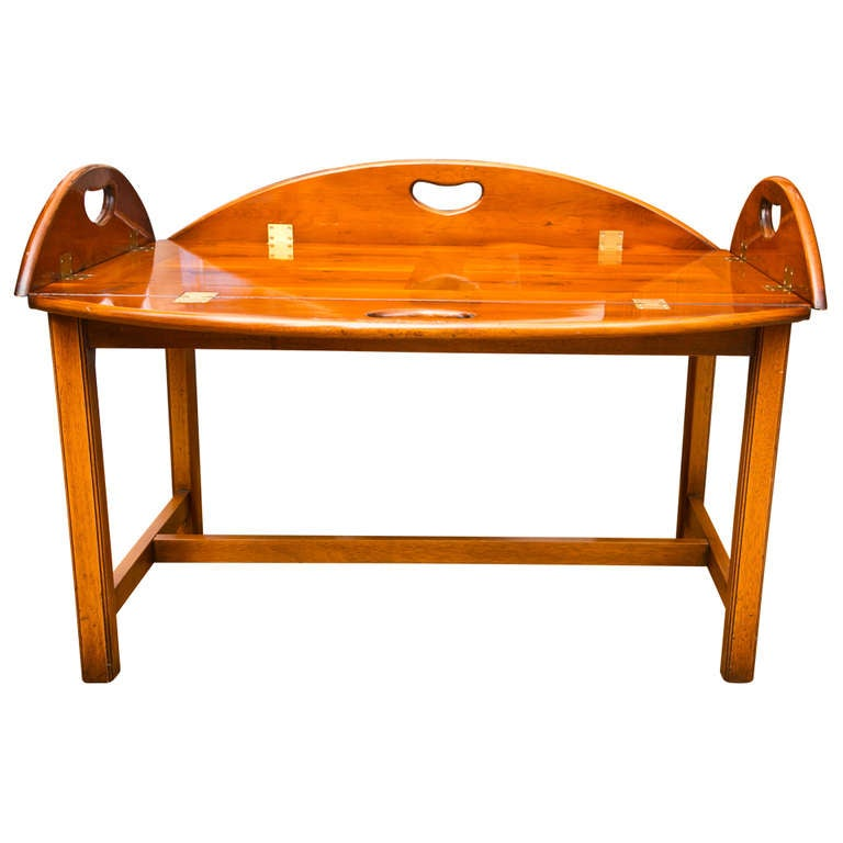Vintage Butler Coffee Table: Antique British Yew Wood Butler's Tray Table At 1stdibs