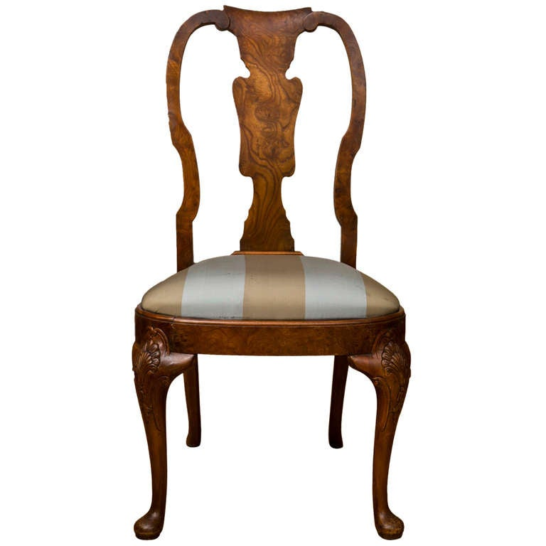 Antique Queen Anne Style Side Chair For Sale - Antique Queen Anne Style Side Chair For Sale At 1stdibs