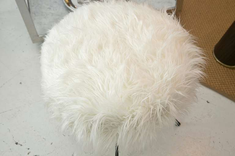 Mid Century Drum Ottoman In Faux Mongolian Lamb S Wool At
