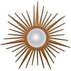 French Gilt Iron Sunburst Mirror by Chaty Vaullaris