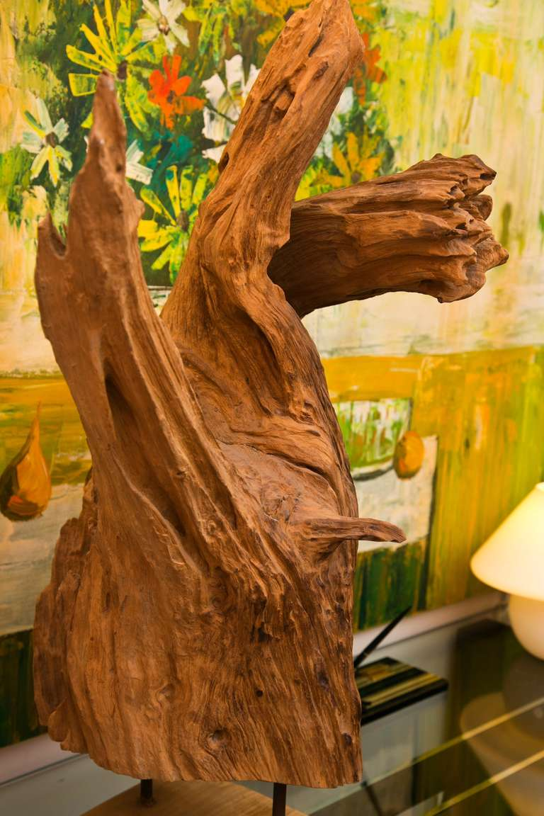 As found mounted wood sculpture at stdibs