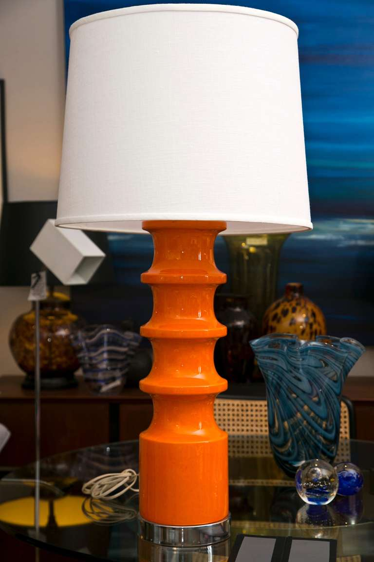 Good A Mid Century Pop Art Inspired Table Lamp In Column Form With Chrome  Accents In