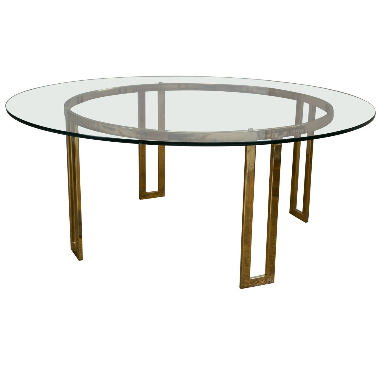 Mid Century Brass And Glass Cocktail Table At 1stdibs