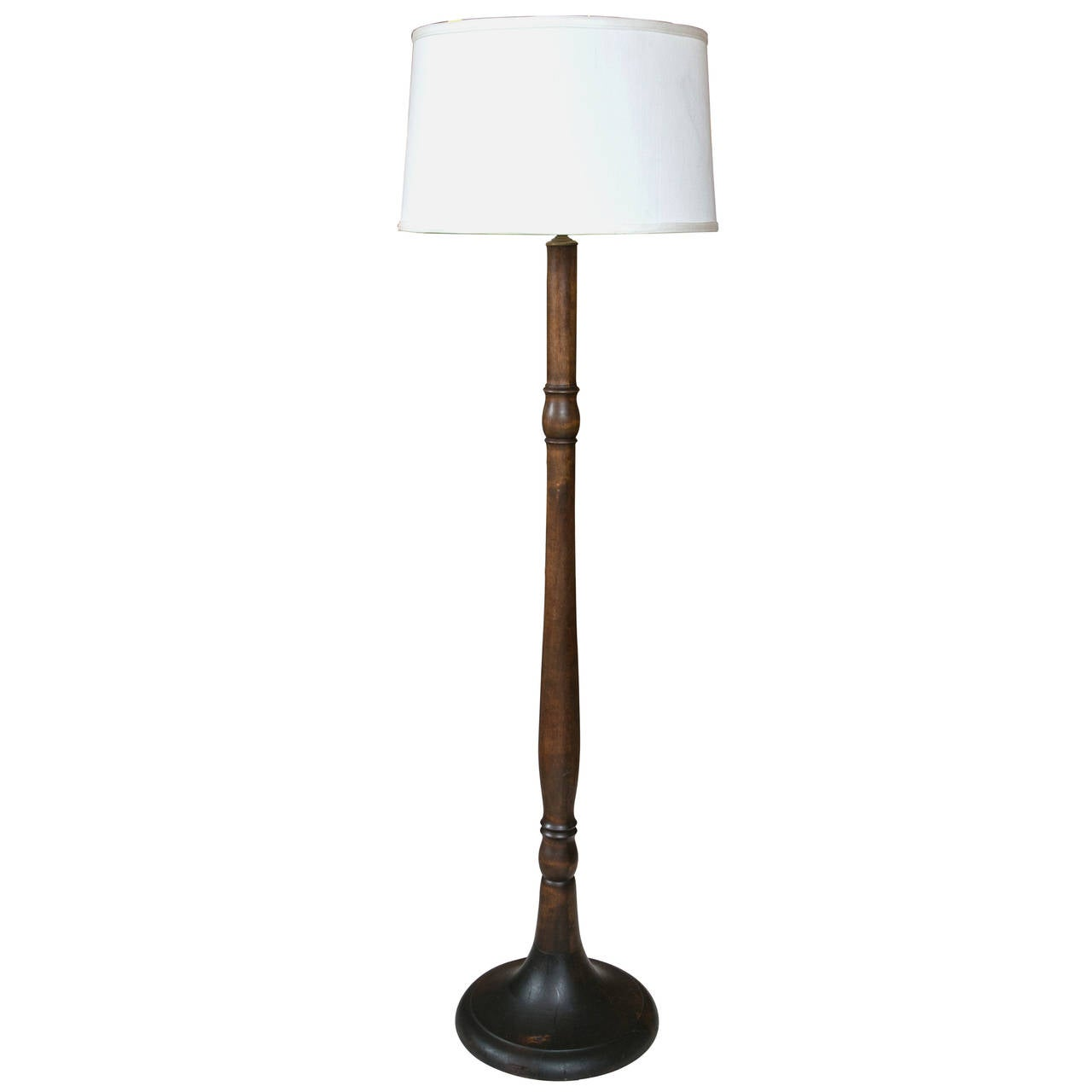 Large Turned Wood Floor Lamp At 1stdibs