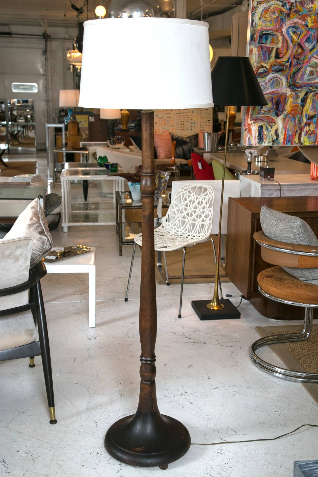 this large turned wood floor lamp is no longer available. Black Bedroom Furniture Sets. Home Design Ideas