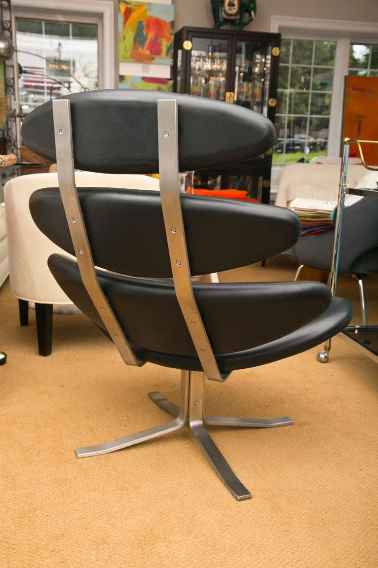 Period 1960 S Corona Lounge Chair In Black Leather At 1stdibs