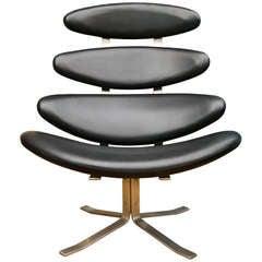Period 1960's Corona Lounge Chair in Black Leather