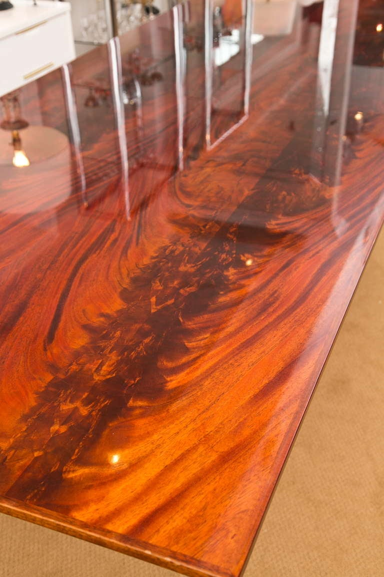 Banded Bookmatched Flame Mahogany Dining Table by