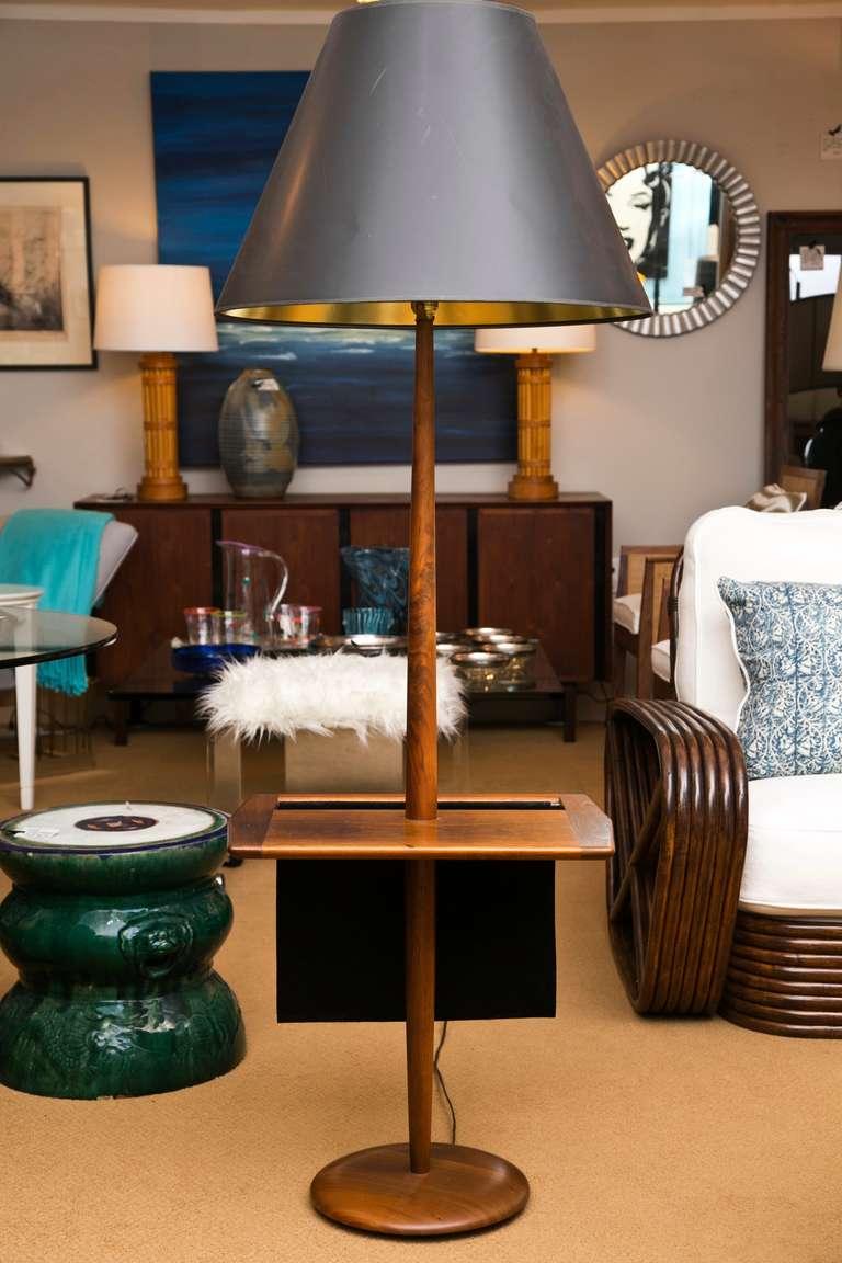 Mid Century Walnut Lamp Table With Magazine Holder At 1stdibs