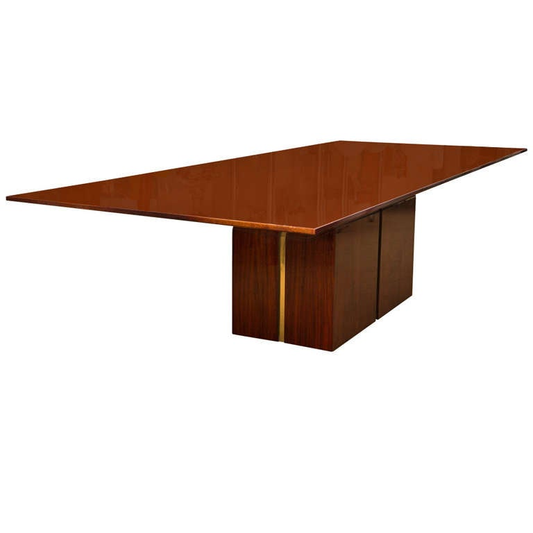 Banded Bookmatched Flame Mahogany Dining Table by  : 866795l from 1stdibs.com size 768 x 768 jpeg 15kB