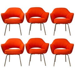 Mid-Century 1960s Set of Six Saarinen Executive Lounge Chairs