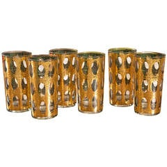 Mid-Century Set of Six Gold Foil High Ball Glasses