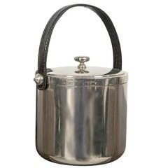 Mid-Century Faux-Leather Handle Ice Bucket