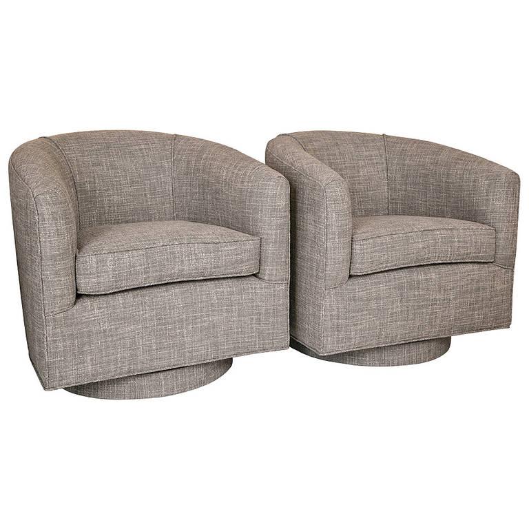 mid century swivel chair pair at 1stdibs. Black Bedroom Furniture Sets. Home Design Ideas