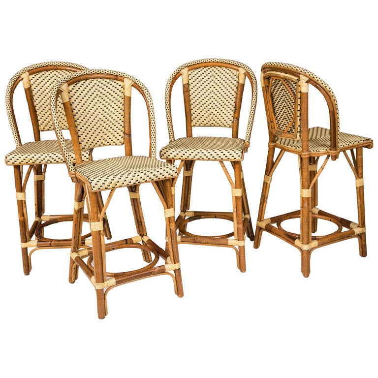 Maison Gatti Cane Bistro Counter Stools Set Of Four At