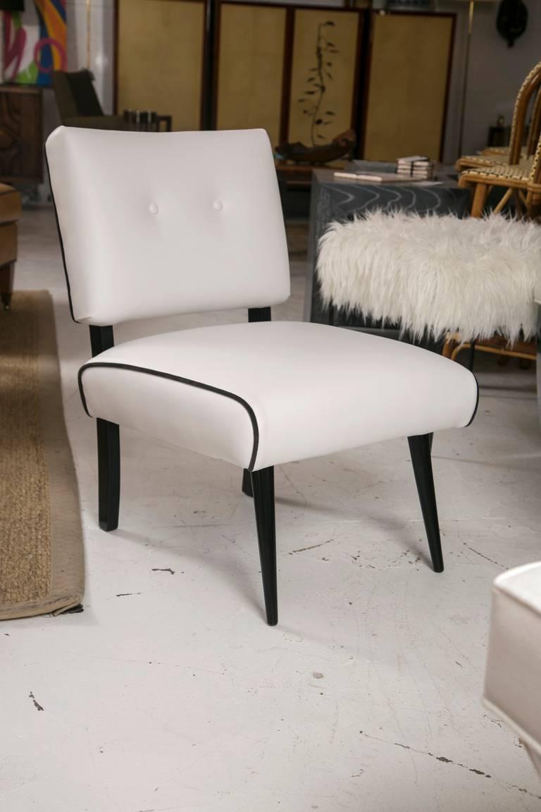 Mid Century Modern Slipper Lounge Chair In White Vinyl For