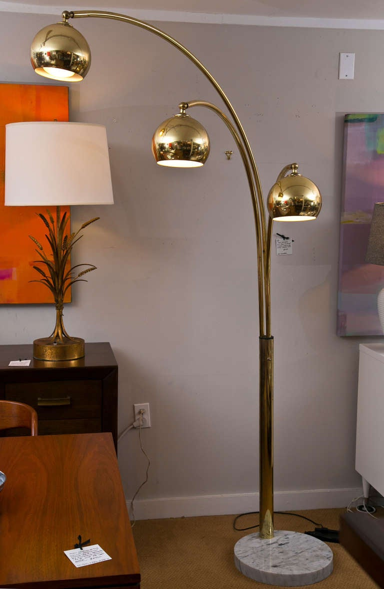 Vintage Arc Floor Lamp Marble Base