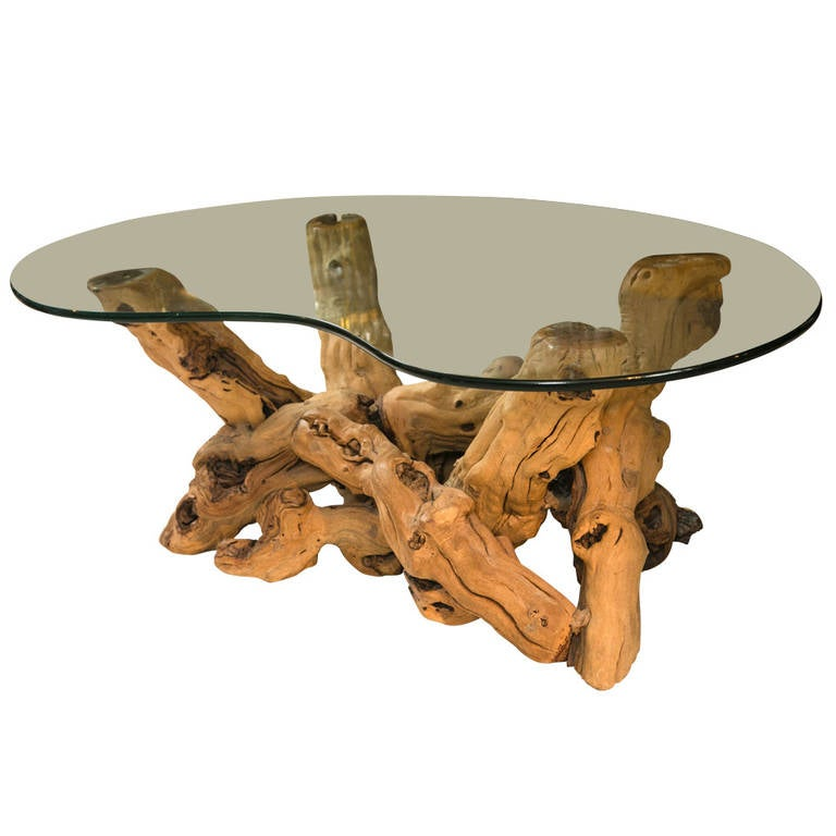 1960s Driftwood Base Coffee Table At 1stdibs