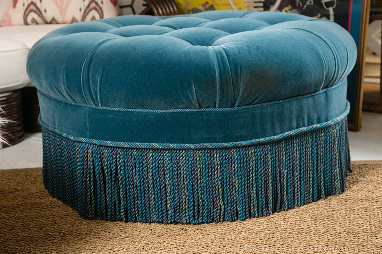 Vintage Custom Turquoise Mohair Ottoman At 1stdibs