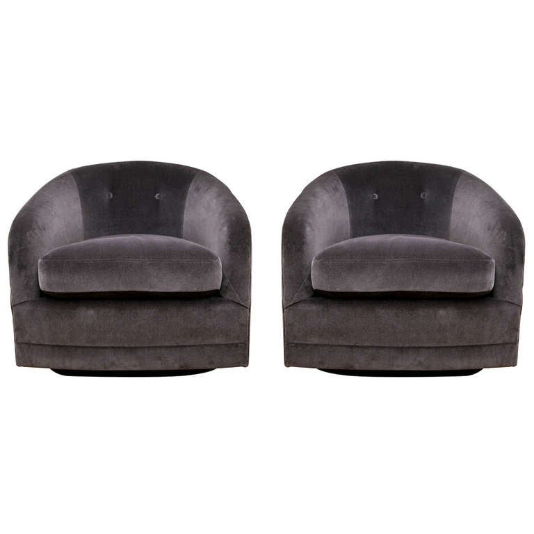 Mid Century Swivel Tub Chair Pair 1
