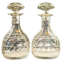 Antique Georgian Style Cut Crystal Decanters