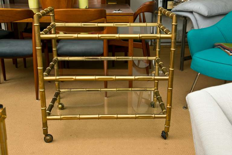 Mid-Century Modern 1950's Faux-Bamboo Bar Cart For Sale