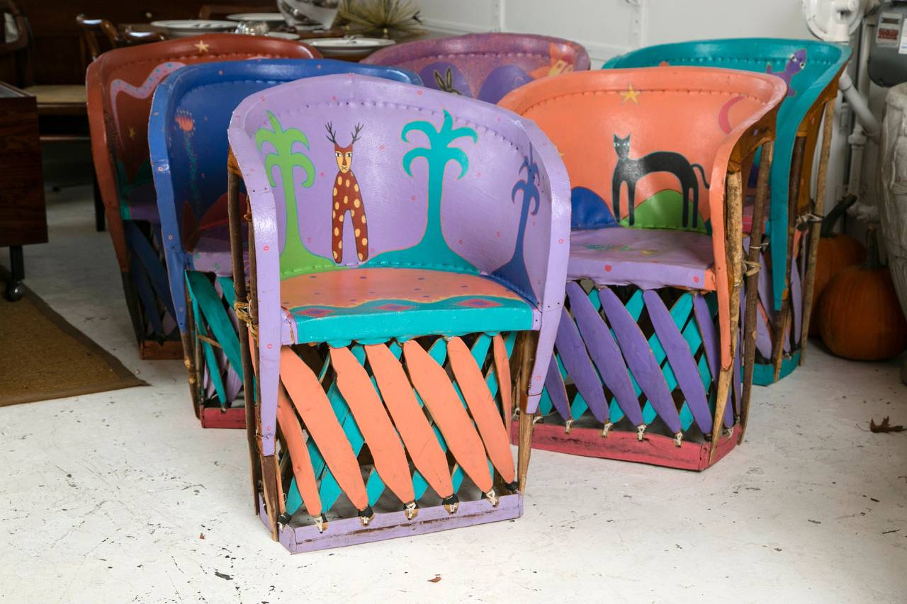 Fantastic Set Of Painted Chairs From Santa Fe New Mexico
