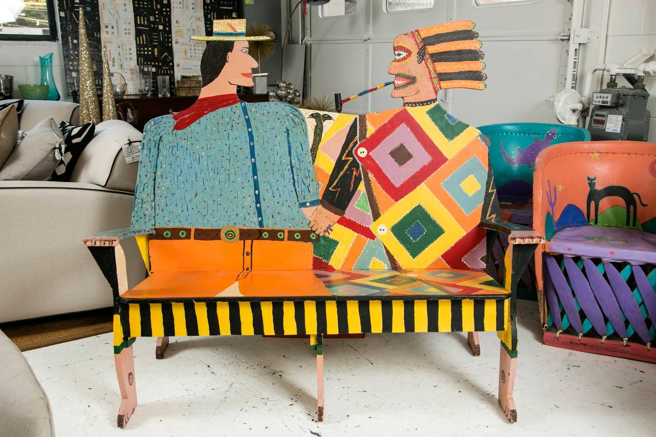 Santa Fe New Mexico For A Remarkable Artist Crafted Bench In All Original Condition Circa Early 1970s From