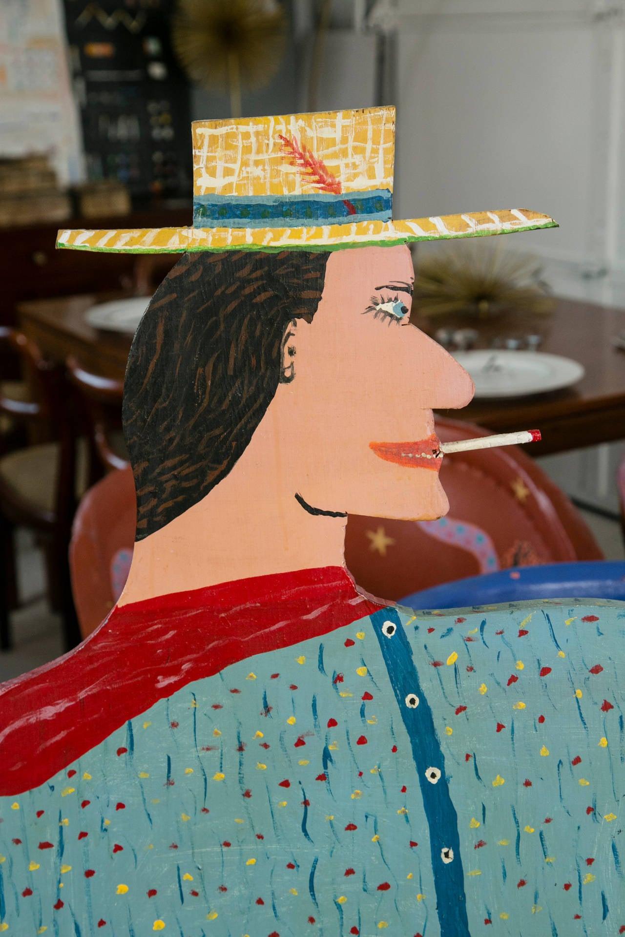 Folk Art Cowboy And Indian Bench Santa Fe New Mexico At