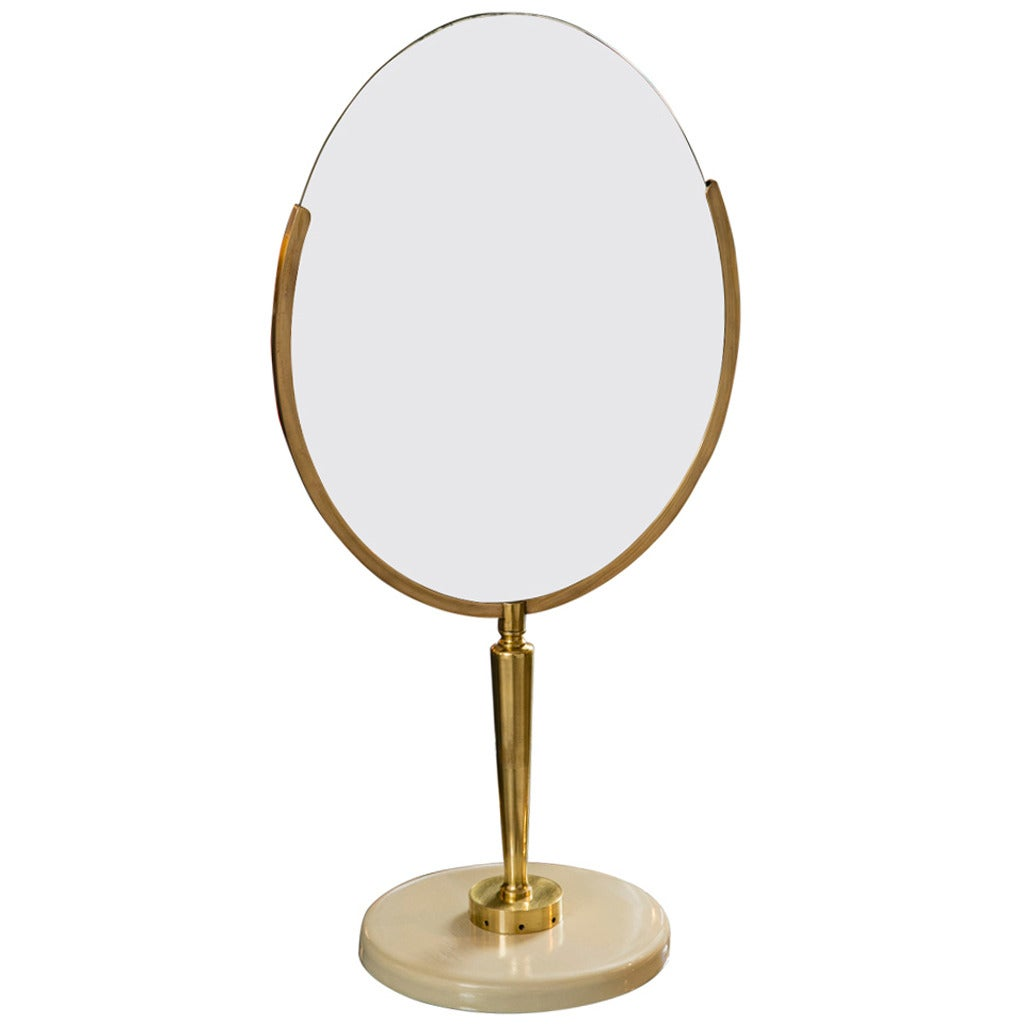 Mid century vanity mirror on stand at 1stdibs for Vanity stand