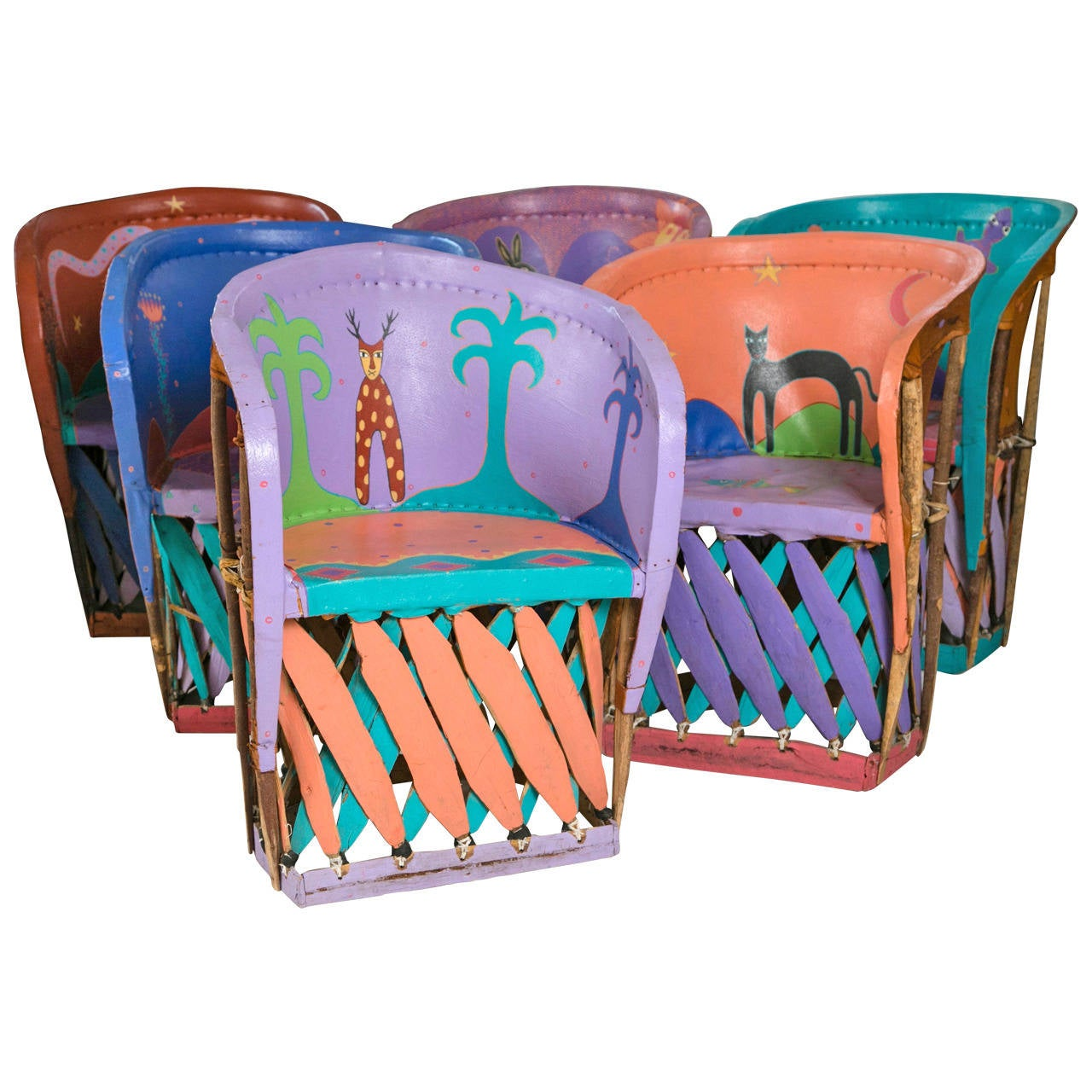 Fantastic Set Of Painted Chairs From Santa Fe, New Mexico For Sale