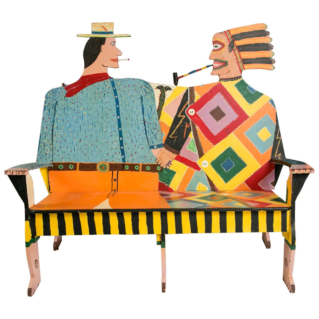 Folk Art Cowboy and Indian Bench, Santa Fe, New Mexico 1 - Folk Art Cowboy And Indian Bench, Santa Fe, New Mexico At 1stdibs