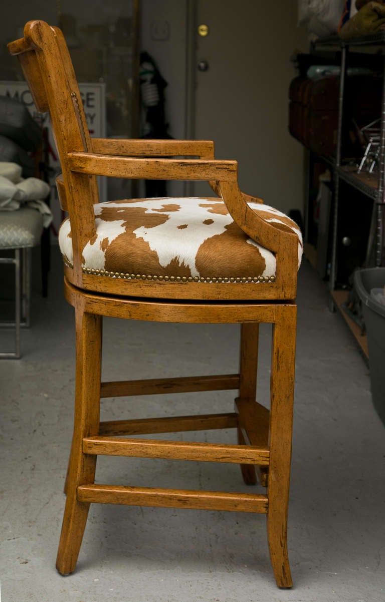 Set Of 6 Cowhide Swivel Stools At 1stdibs