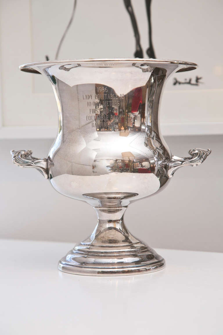 Silver Plate Trophy Champagne Bucket At 1stdibs