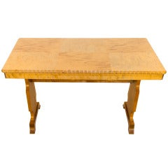 Birch Art Deco Table with Parquetry Veneered Top