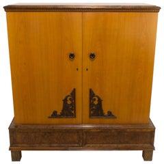 Golden Ash Art Deco Armoire