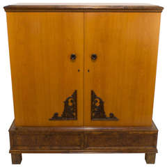 Golden Ash Art Deco Armoire