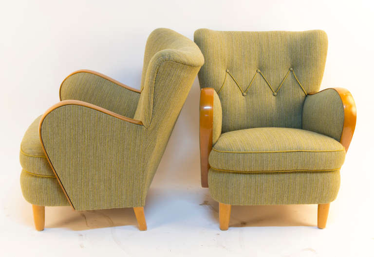 Solid ash art deco salon suite in vintage green tweed for for Solid salon