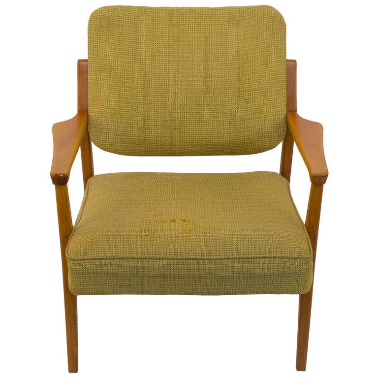 Mid-Century Modern Armchair in Vintage Upholstery
