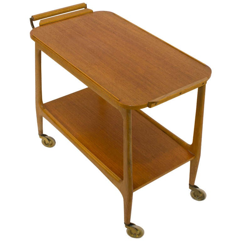 Mid-Century Modern Teak Rolling Bar Cart with Secret Compartment