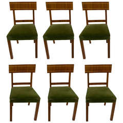Walnut and Golden Birch Art Deco Dining Chairs