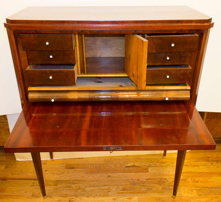 Flame Mahogany Empire Secretary In Good Condition For Sale In New York, NY
