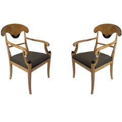 Birch Hand-Carved and Ebonized Biedermeier Dining Chairs