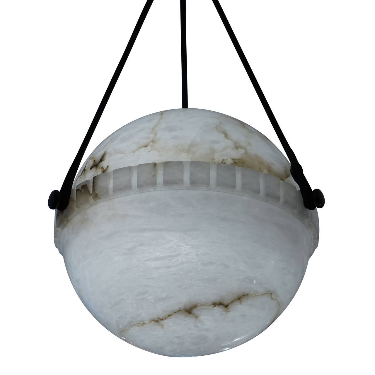 Alabaster globe light at 1stdibs this exclusive art deco light suspends mid air on electrified ropes and holds one arubaitofo Choice Image