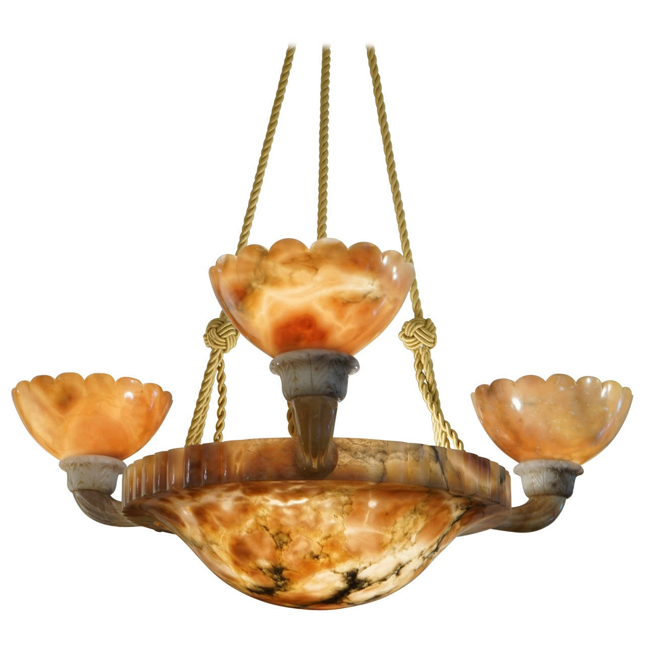 Amber art deco alabaster chandelier circa 1929 for sale at 1stdibs amber art deco alabaster chandelier circa 1929 for sale arubaitofo Images