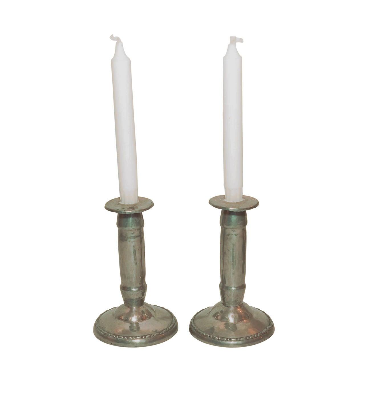 Swedish Jugendstil Table Lamp and Candlesticks For Sale