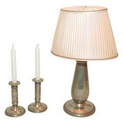 Jugendstil Table Lamp and Candlesticks