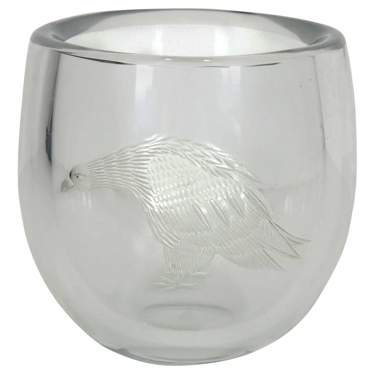Periphas Kosta Boda Eagle Crystal Vase For Sale