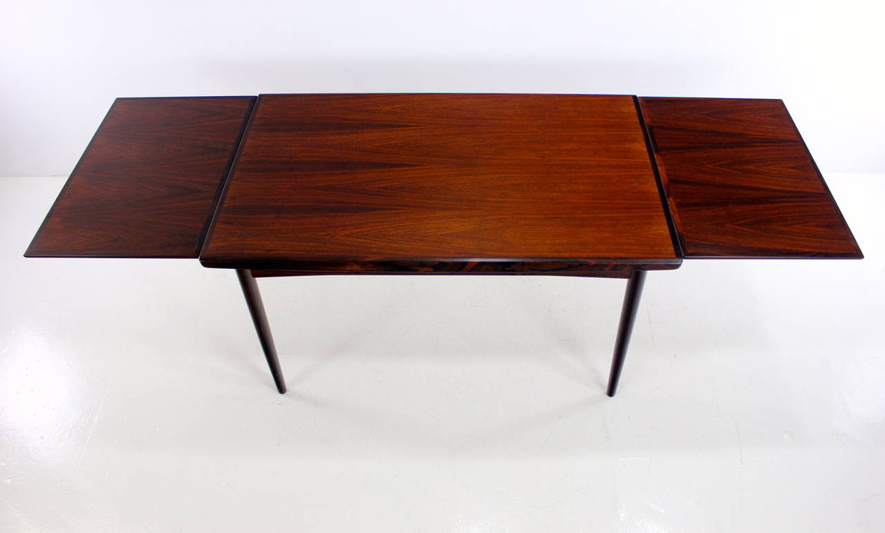 Danish Modern Rosewood Draw Leaf Dining Table For Sale At