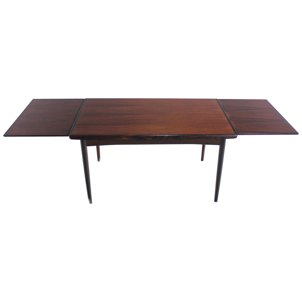 Danish Modern Rosewood Draw Leaf Dining Table At 1stdibs